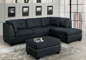 Lita Sectional In Greyish Black