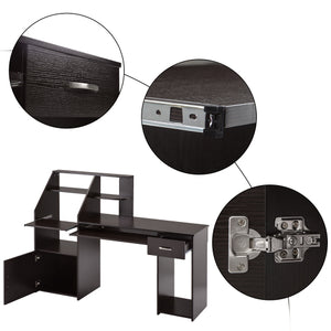 Multi-Functions Computer Desk with Cabinet (Espresso)