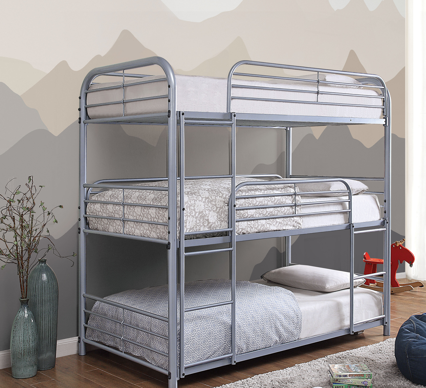 Opal II Silver Triple Decker Twin Bunk Bed
