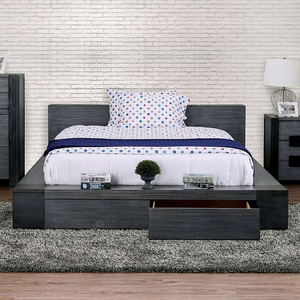 Janeiro Low profile Bed In Grey With Drawers