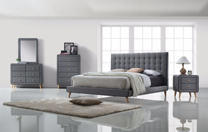 Valda Light Grey Upholstered Bed