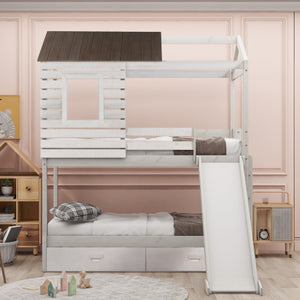 Olivia Twin Over Twin Bunk Bed with Storage Drawers and Slide (White)