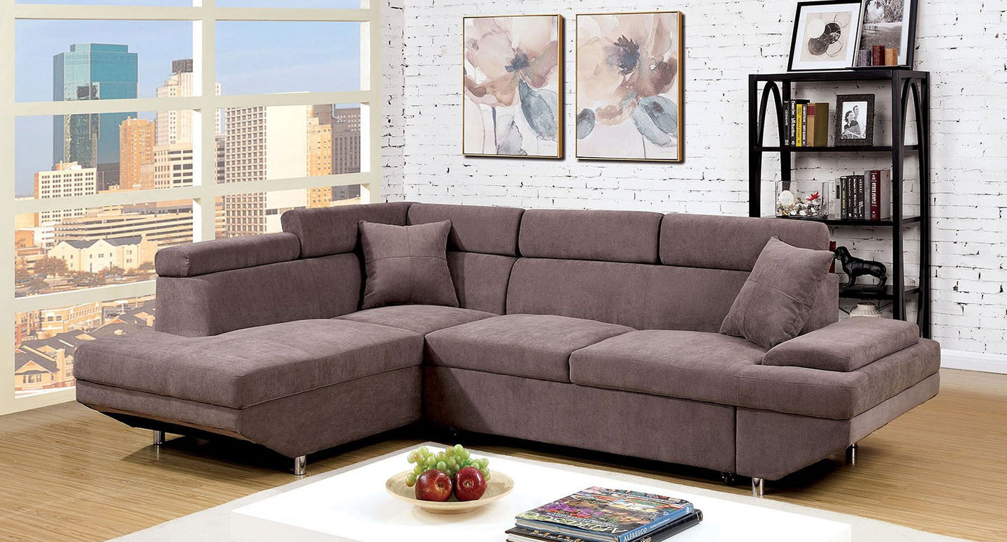Foreman Pull Out Sleeper Sectional In Brown