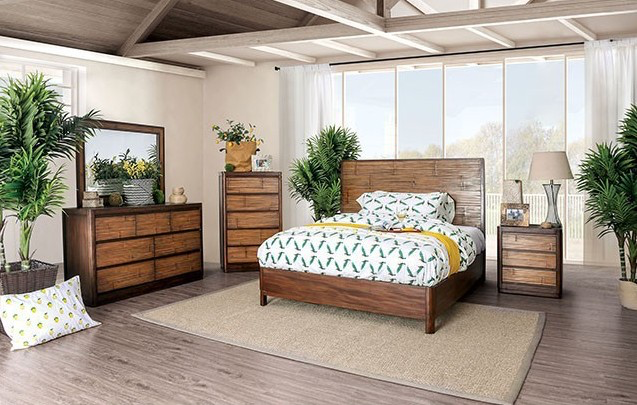 Covilha Antique Brown Finish Bedroom Collection