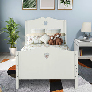 Heart Cutout Twin Platform Bed (White)