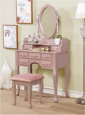 Harriet Vanity With Stool in Rose Gold