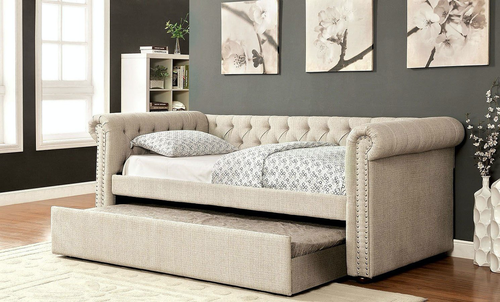 Leanna Beige Button Tufted Rolled Arm Day Bed (3 Sizes)