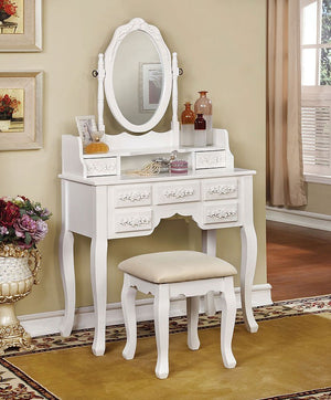 Harriet Vanity With Stool (White)