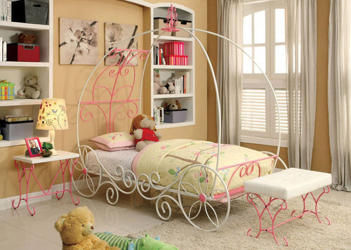Enchant Canopy Bed in White and Pink
