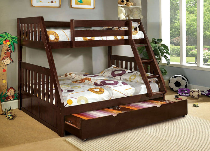 Canberra Twin over Full Bunk Bed (Dark Walnut)