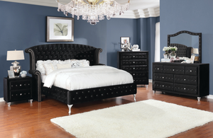 Deanna Bedroom Collection in Black Velvet