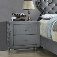 Load image into Gallery viewer, Sandboard  Rhinestone Button Tufted Bed Grey