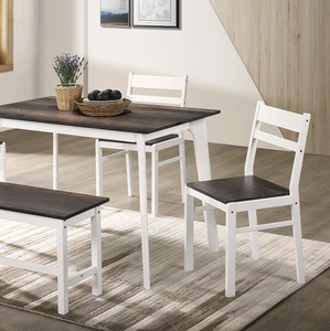 Debbie 5 Piece Dining Set in Grey With Bench