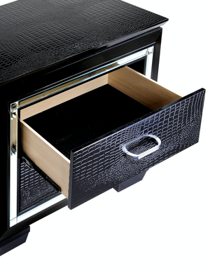 Bellanova Black Crocodile Embossed with Built in LED Lights Bedroom Collection