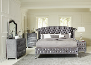 Deanna Bedroom Collection in Grey Velvet