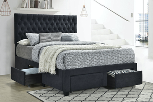 Soledad Button Tufted Storage Bed In Charcoal
