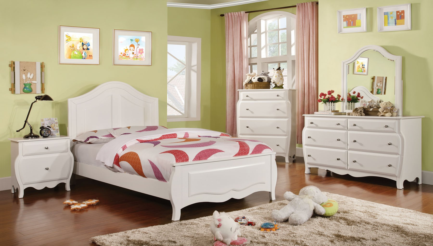 Roxana Curved Back White Bedroom Collection