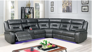 Omeet Power Sectional In Grey Leatherette