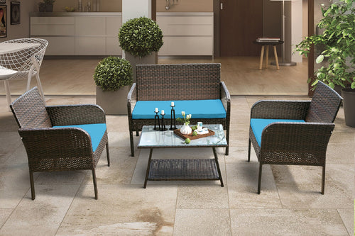 4 Piece Rattan Sofa Seating Group with Cushions  (Brown & Blue)