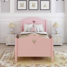 Load image into Gallery viewer, Heart Cutout Twin Platform Bed (Pink)