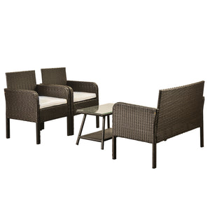 4 Piece Rattan Sofa Seating Group with Cushions (Brown and Beige)