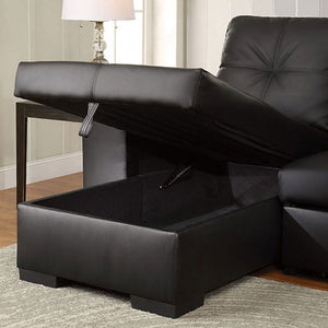 Denton Sleeper Sectional In Black Leatherette