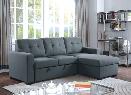Jacob Sleeper Sectional In Dark Grey