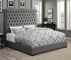 Camille Upholstered Bed in Grey