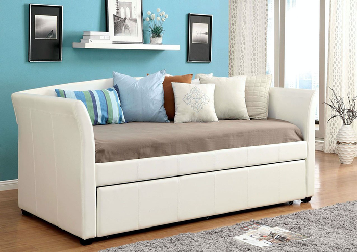 Delmar Leatherette Platform Daybed In White