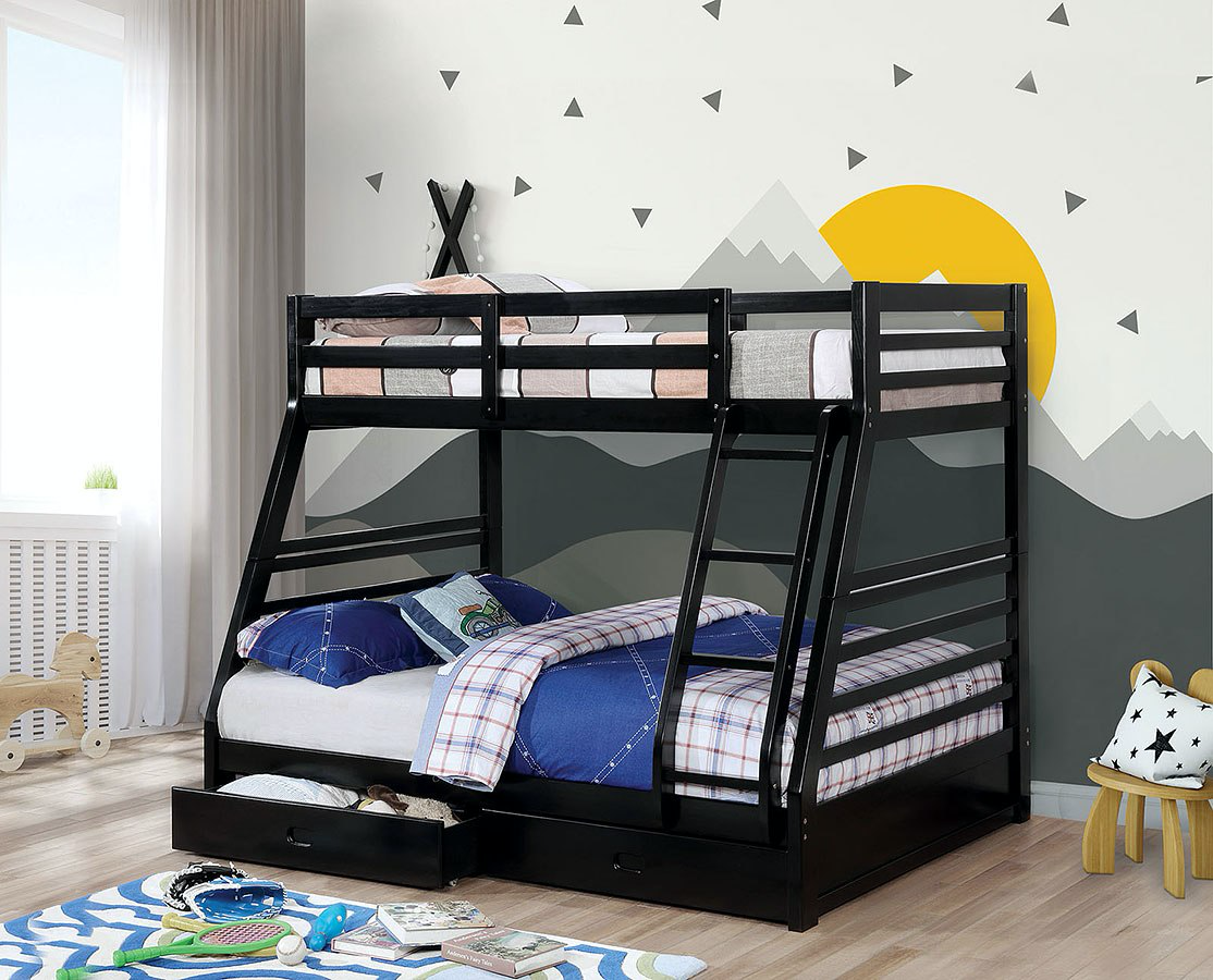 California III Black Twin Over Full Bunk Bed with Drawers