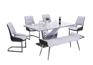 White and grey Faux Marble 6pc Dining Set with Bench