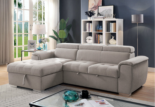 Stina Sleeper Sectional In Light Grey