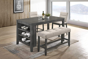 Rustic Grey 4 Piece Counter Height Dining Set with 3 Shelf Storage