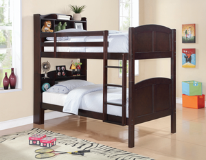 Parker Twin Over Twin Storage Bunk Bed Cappuccino