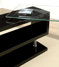 Load image into Gallery viewer, Bronwen Black Glass Desk