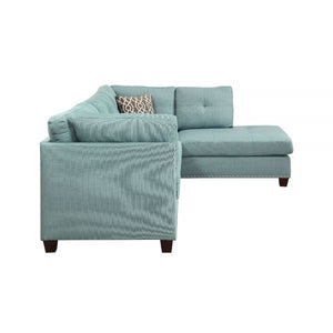 Laurissa Sectional Sofa and Ottoman In Light Teal Linen