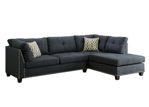 Laurissa Sectional Sofa In Dark Blue Linen