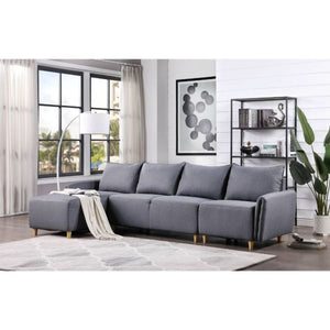 Marcin Sectional Sofa In Gray Fabric