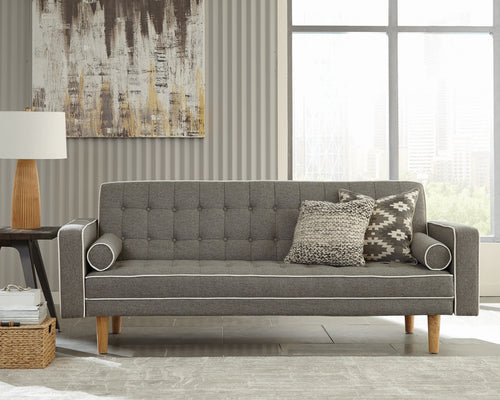 Lassen Tufter Upholstered Sofa Bed In Grey