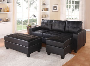 Lyssa Reversible Sectional Sofa w/Ottoman (Black)