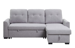 Heidi Reversible Storage Sleeper Sectional Sofa In Gray