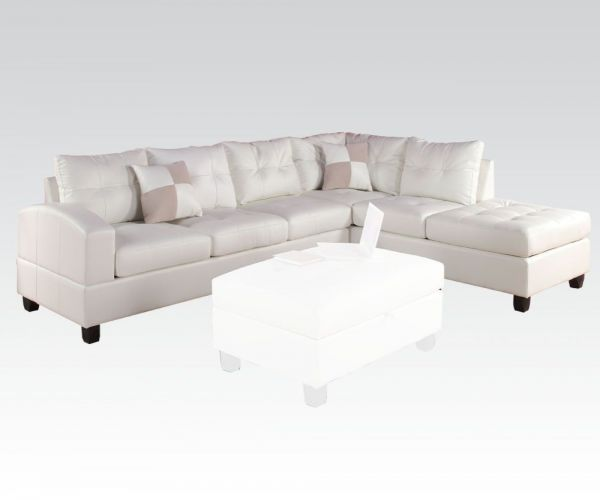 Kiva Sectional Sofa w/2 Pillows (Reversible)(White)