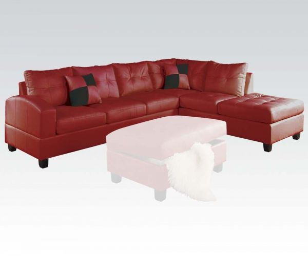 Kiva Sectional Sofa w/2 Pillows (Reversible)(Red)