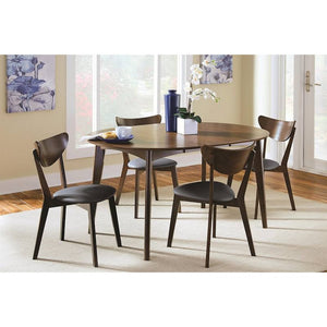 Malone 5-Piece Round Dining Set, Black/Walnut