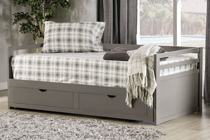 Nancy Double Twin Day Bed with Trundle Drawers in Grey