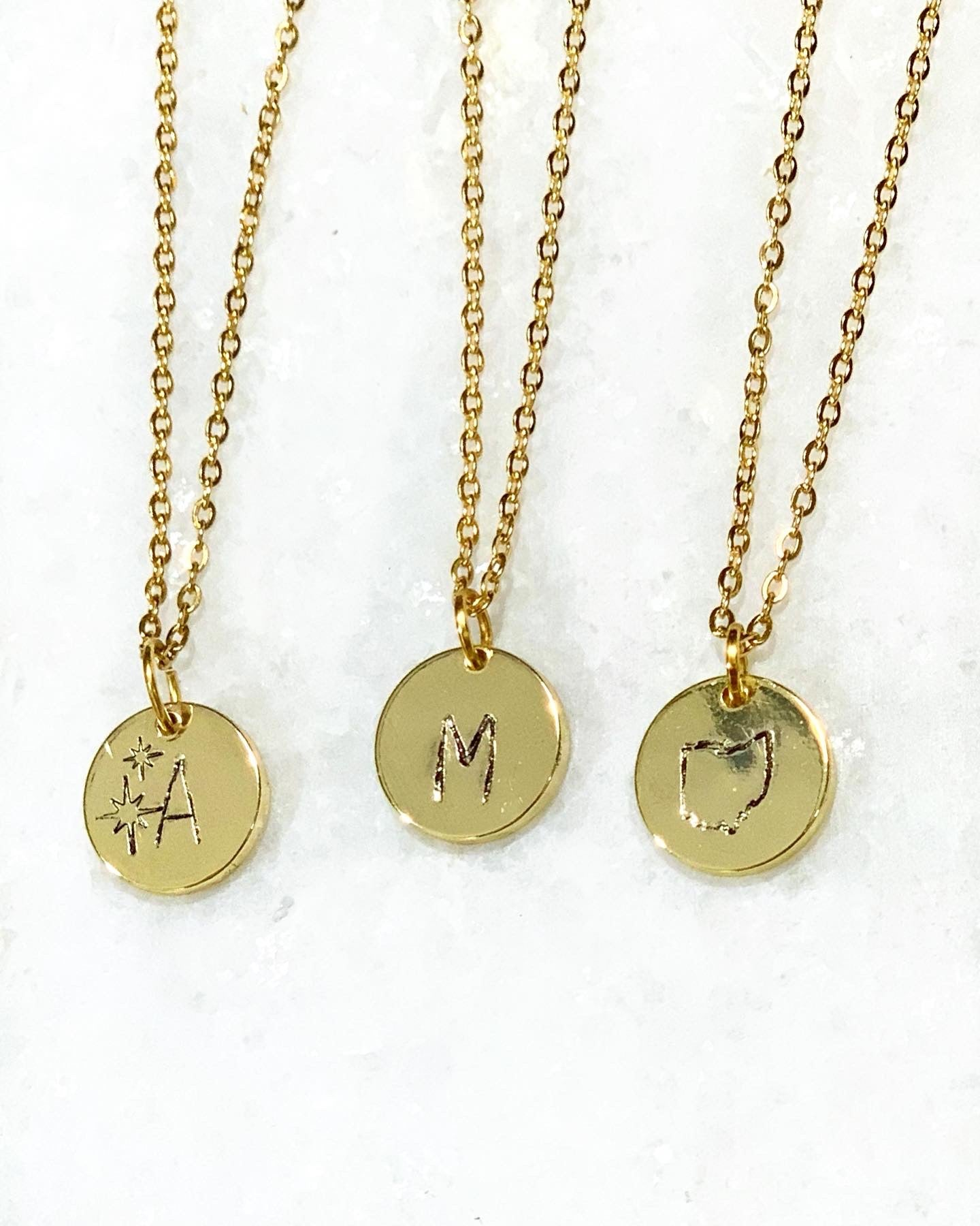 Initial Stamped Necklace - Shop Sahara