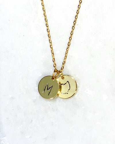 Ohio + Initial Stamped Necklace - Shop Sahara