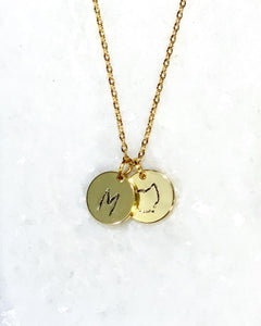 Ohio + Initial Stamped Necklace