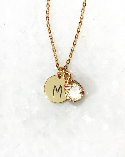Stamped Initial + Charm Necklace - Shop Sahara