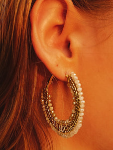 Beaded Gold Hoops - Shop Sahara